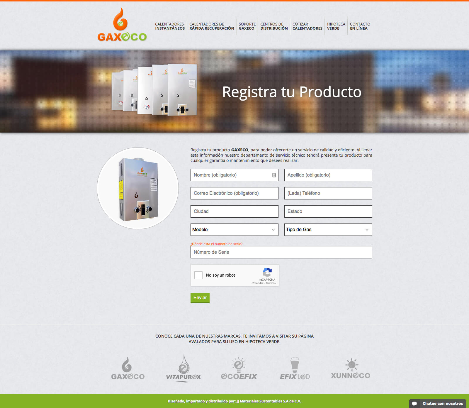 Gaxeco - Registro de Producto